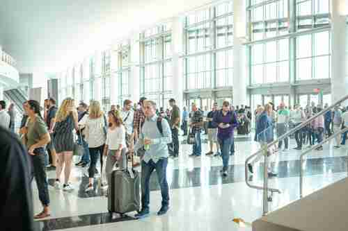 Attendees arriving at the USA CBD Expo show in Miami