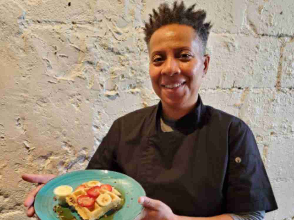 Chef Swan Simpson from Canna Bistro Atlanta with a dish